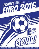 Football poster with ball. EURO 2016 France. Vector brochure for