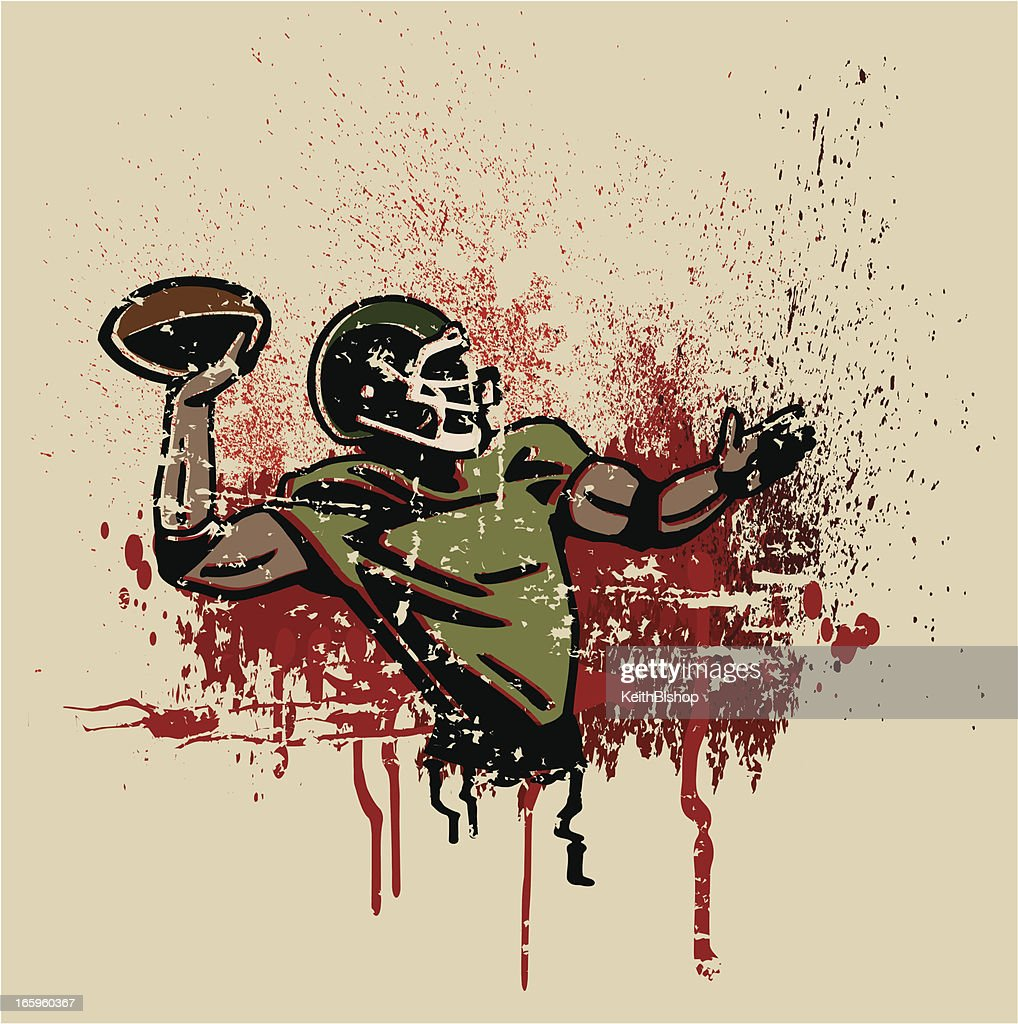 Football Quarterback Grunge Graphic