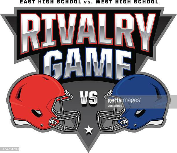 football rivalry game logo - football helmet stock illustrations