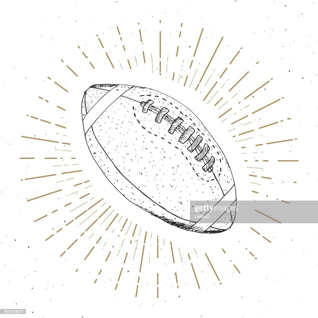 Fussball Rugby Ball Vintage Label Hand Gezeichnete Skizze