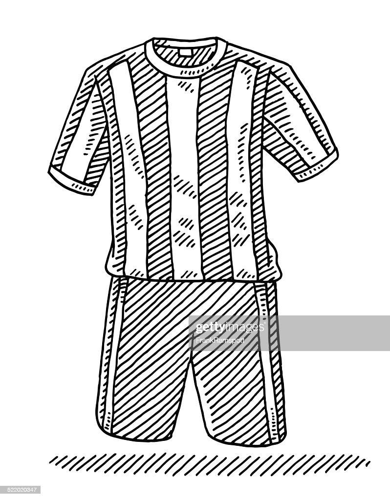 Football Shirt And Shorts Drawing : stock illustration