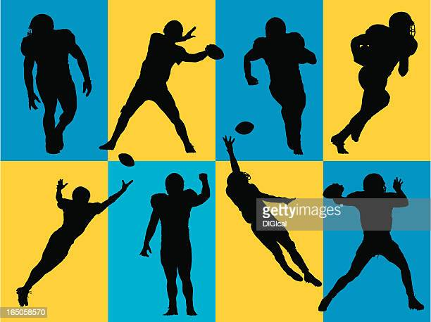 ilustraciones, imágenes clip art, dibujos animados e iconos de stock de siluetas de fútbol - lanzar actividad física