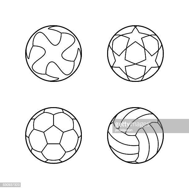 Futebol, futebol Ícones Vetorizados