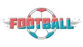 Football / soccer inscription with ball. Line-art style