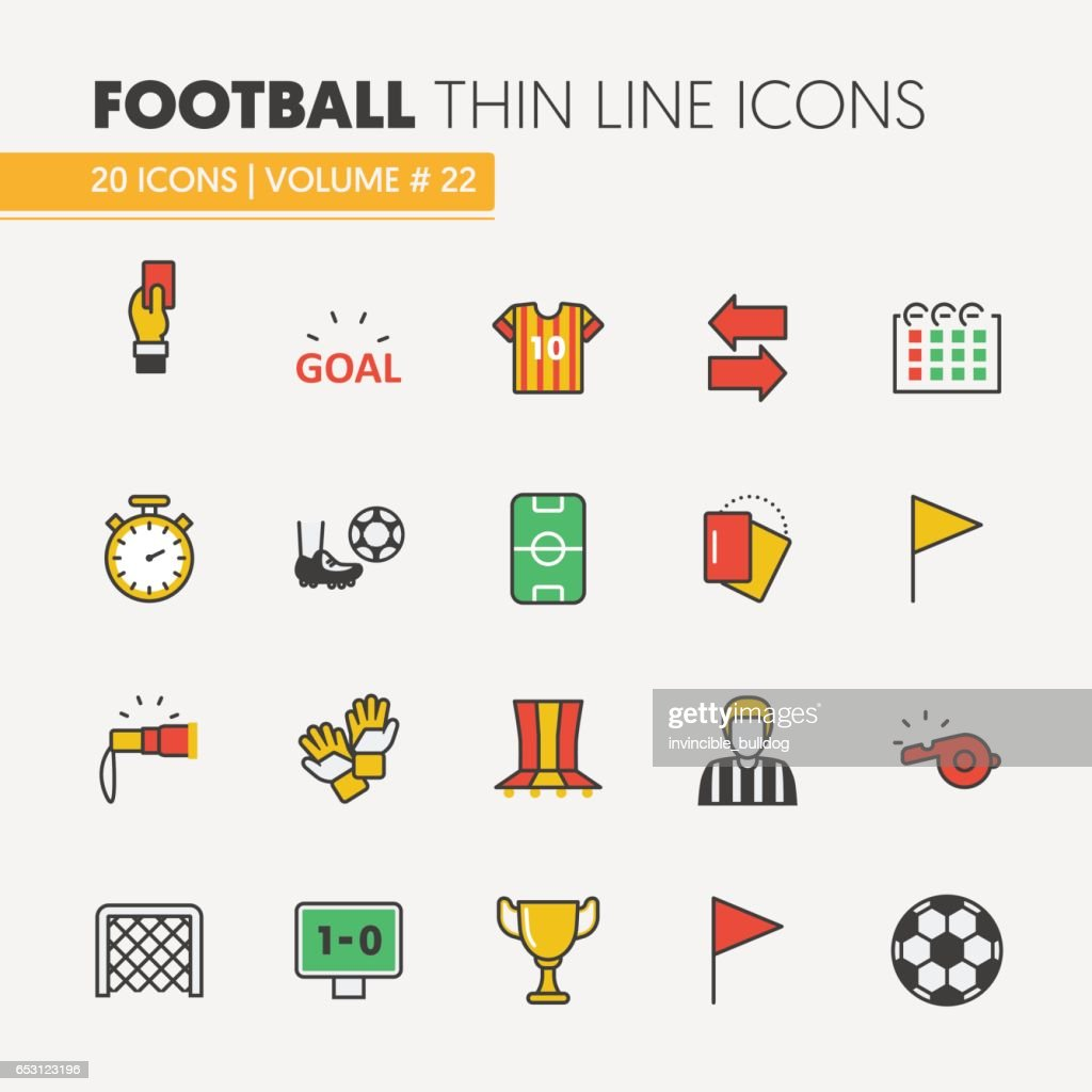 Football Soccer Linear Thin Line Icons Set