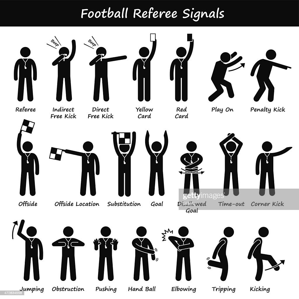 Football Soccer Referees Officials Hand Signals Illustrations