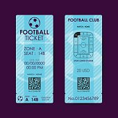 Football, Soccer Ticket Flat Design. Vector illustration.