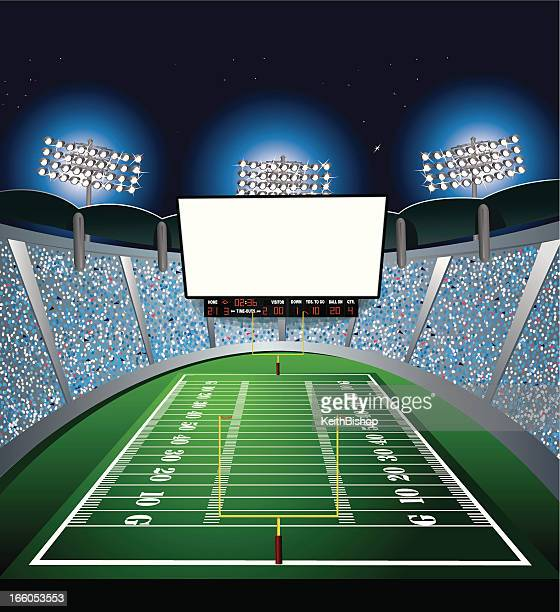 football stadium - jumbotron, large scale screen - football field stock illustrations, clip art, cartoons, & icons
