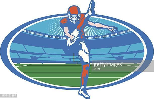 football stadium punter - punt kick stock illustrations