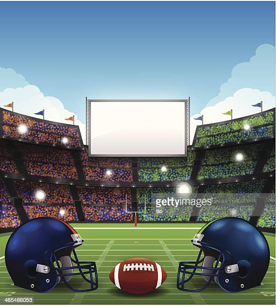 football stadium with helmets - football field stock illustrations, clip art, cartoons, & icons