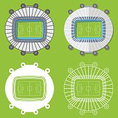 Football stadiums set in flat design. Stadiums top view. Vector Illustration.