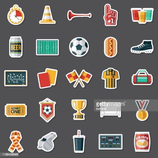 football (soccer) sticker set - scoring stock illustrations