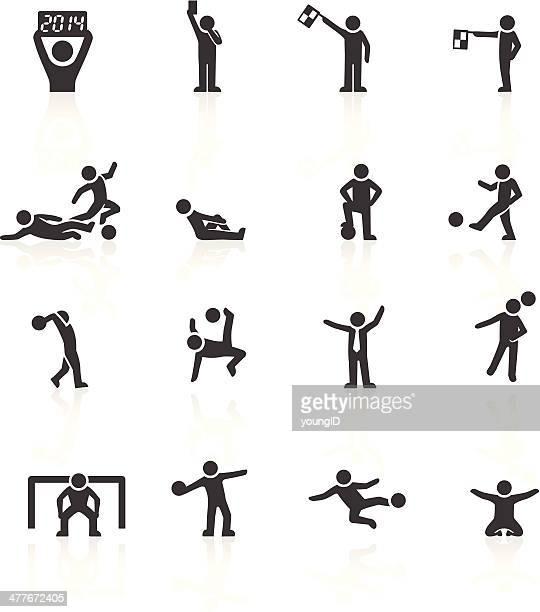 football stickman icons - penalty kick stock illustrations