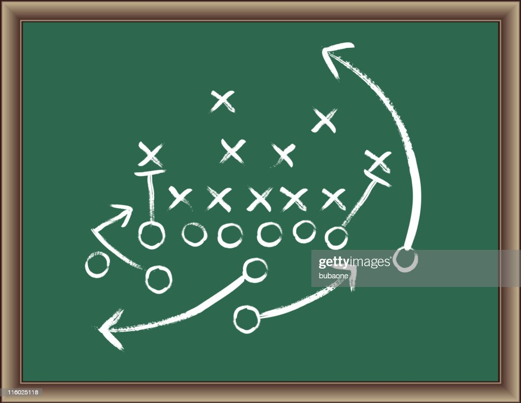 Football Strategy Game plan on blackboard with wooden frame