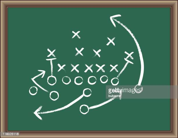 stockillustraties, clipart, cartoons en iconen met football strategy game plan on blackboard with wooden frame - football