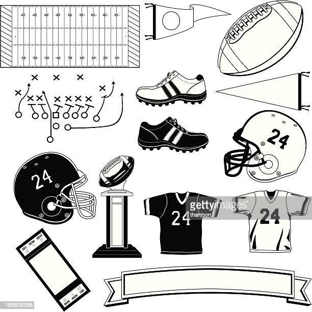 football symbols black and white - sports jersey stock illustrations