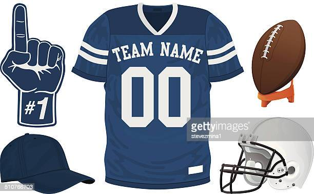 a football team blue jersey set - shirt stock illustrations
