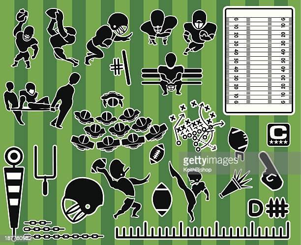Coleção de ícone com tema de futebol americano