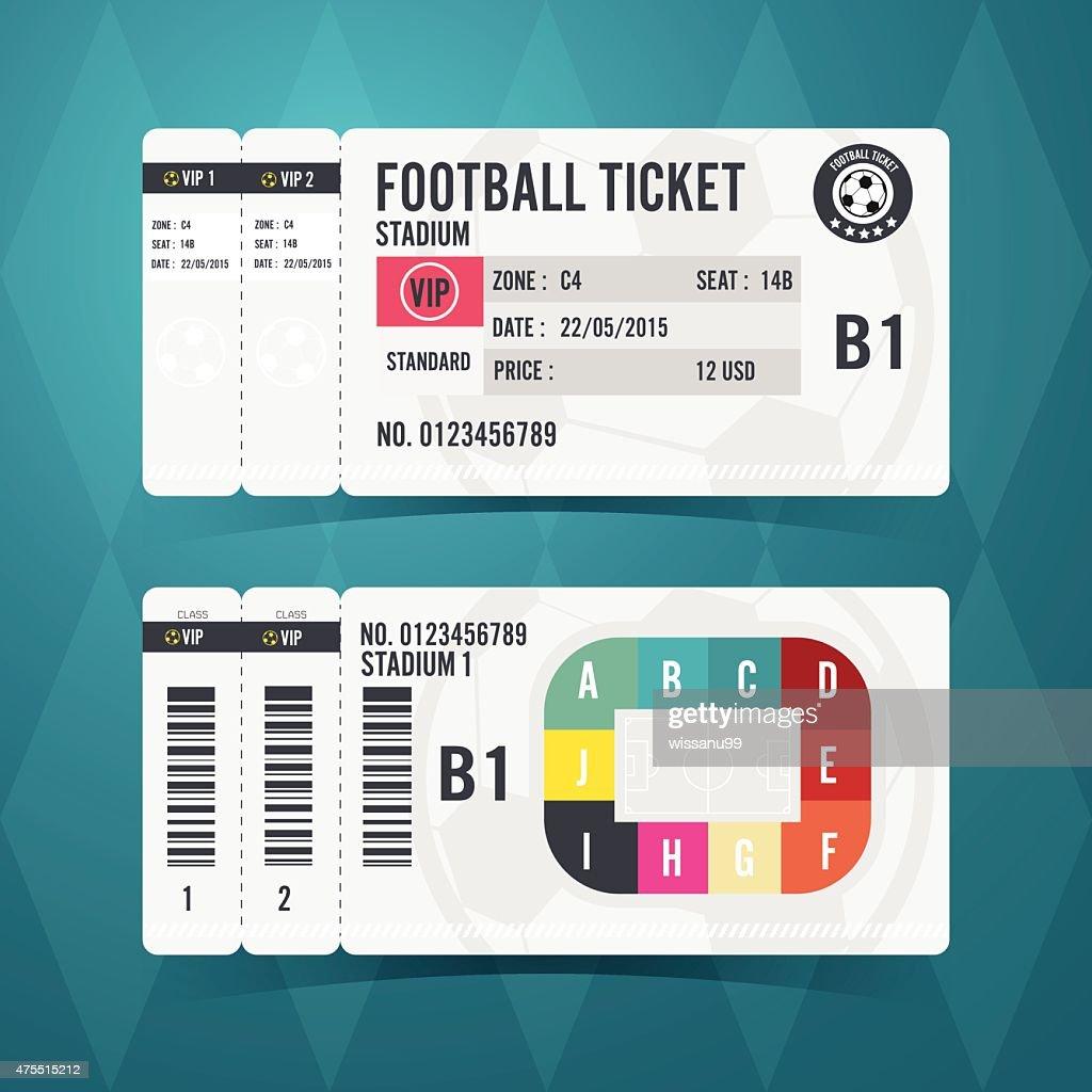 Football ticket card modern design. Vector illustration