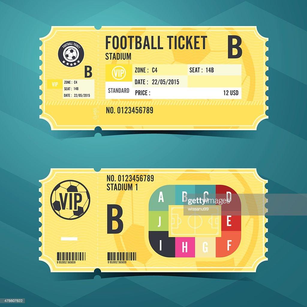 Football ticket card retro design. Vector illustration