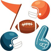 Football Vectors: helmets, ball, foam finger, pennant