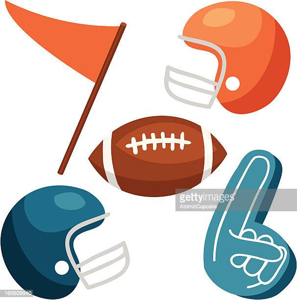 football vectors: helmets, ball, foam finger, pennant - pennon stock illustrations