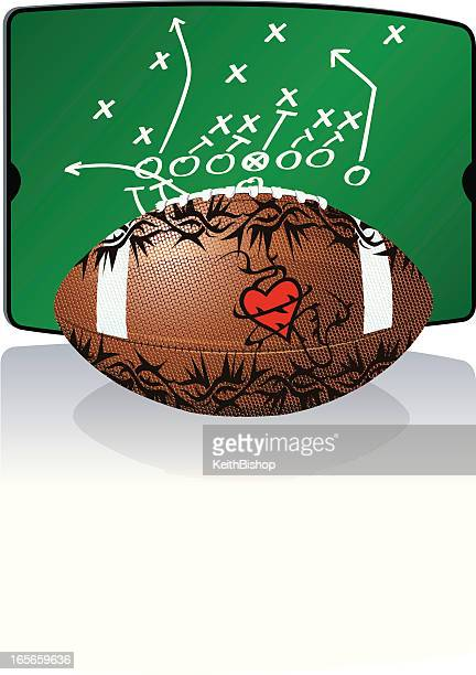 フットボールにも、心臓の図にタトゥー - とげ点のイラスト素材/クリップアート素材/マンガ素材/アイコン素材