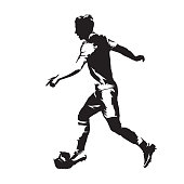 Footballer running with ball. Soccer player abstract isolated vector silhouette. Abstract european football athlete