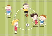 Footballers playing soccer