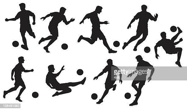 football/soccer silhouettes - sports organization stock illustrations, clip art, cartoons, & icons