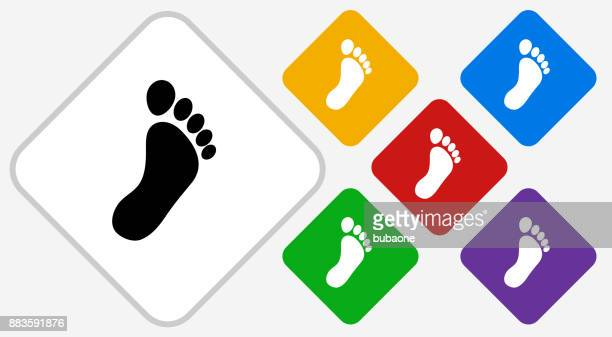 footprint color diamond vector icon - toe stock illustrations, clip art, cartoons, & icons
