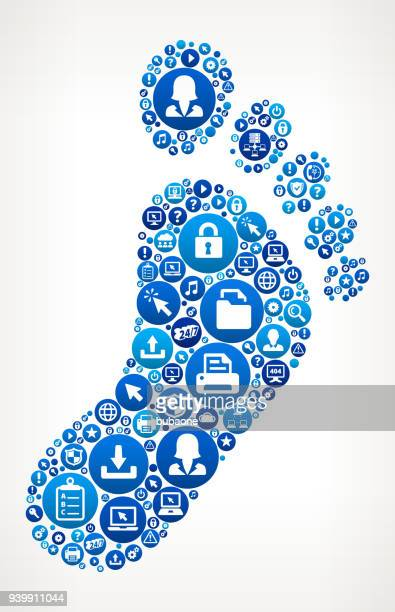 footprint computer tech support - toe stock illustrations, clip art, cartoons, & icons