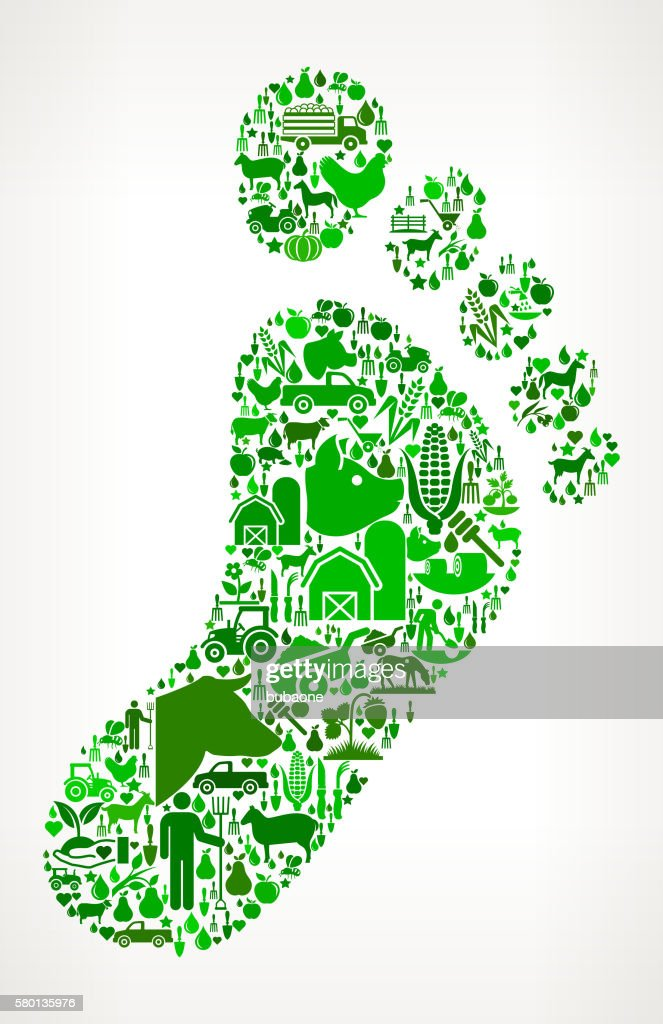 Footprint Farming and Agriculture Green Icon Pattern