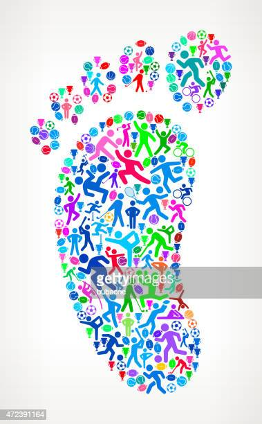 Footprint Fitness Sports and Exercise pattern vector background
