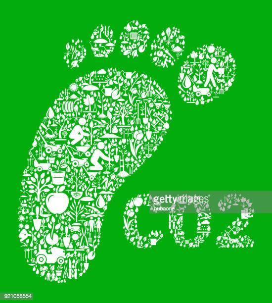 ilustraciones, imágenes clip art, dibujos animados e iconos de stock de co2 huella verde jardín y jardinería fondo patrón - gas de efecto invernadero