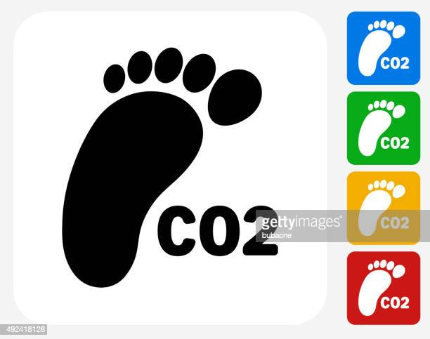 CO2 Footprint Icon Flat Graphic Design