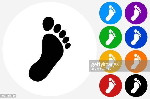 footprint icon on flat color circle buttons - toe stock illustrations, clip art, cartoons, & icons