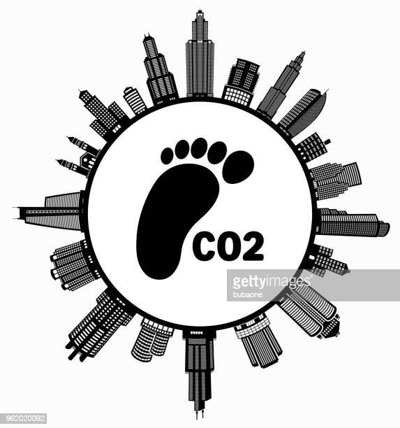 co2 footprint  on modern cityscape skyline background - commercial real estate stock illustrations