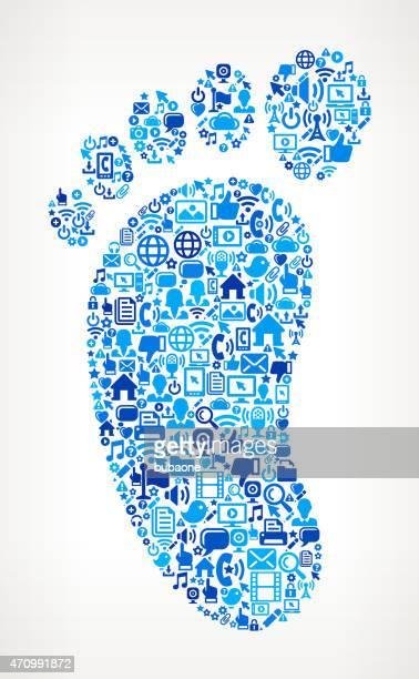Footprint on vector technology pattern Background