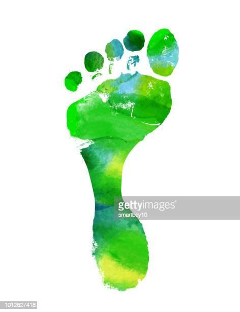 footprint - toe stock illustrations, clip art, cartoons, & icons
