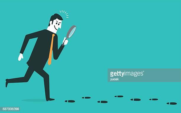 ilustraciones, imágenes clip art, dibujos animados e iconos de stock de huella de - detective