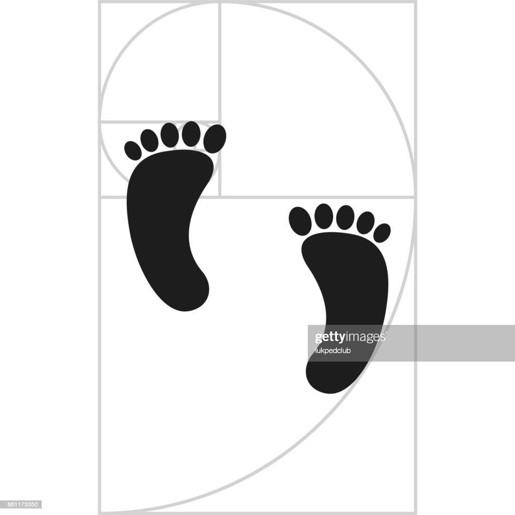 footprint with Fibonacci spiral