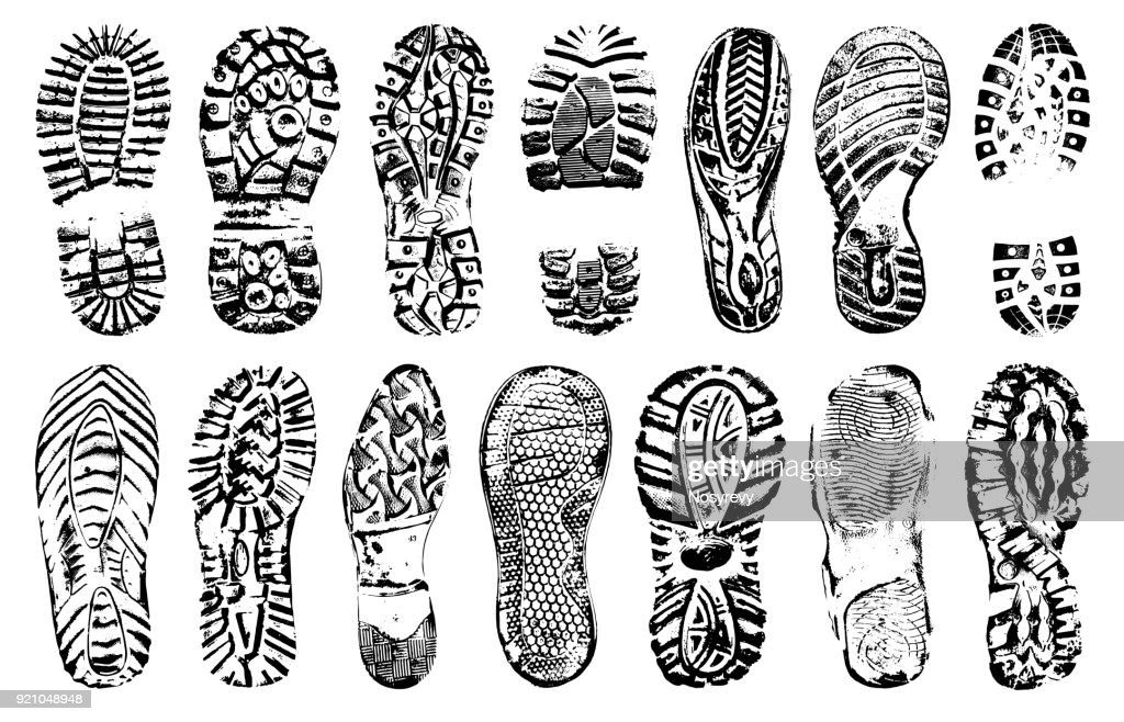 Footprints human shoes silhouette, vector set, isolated on white background