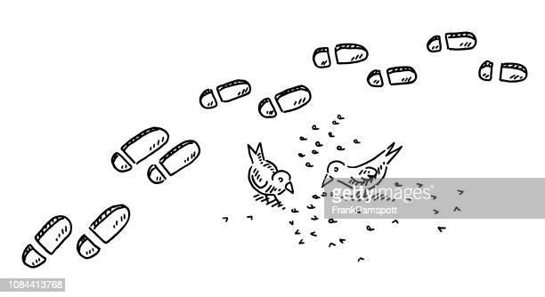 Fußspuren im Schneevögel Kommissionierung Korn Zeichnung