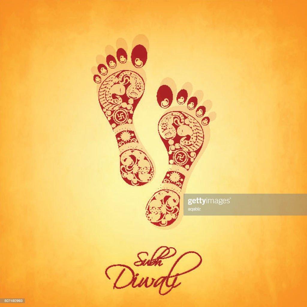 Footprints of Goddess laxmi for Diwali celebrations in India.