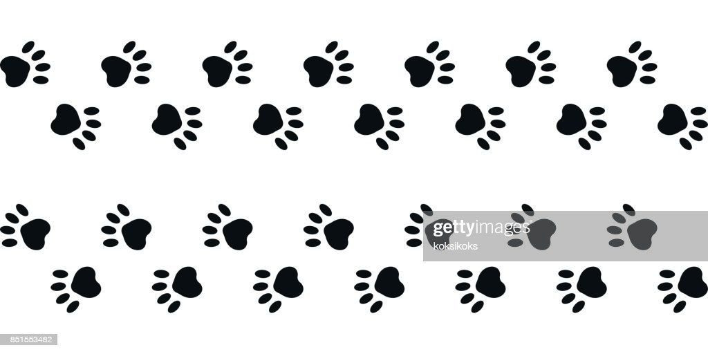 footprints paws dog cat right and left, vector trail animal