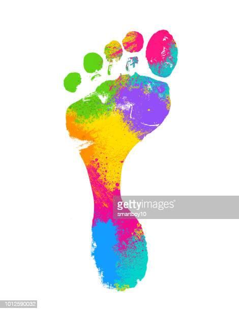 footprints - powder paint stock illustrations