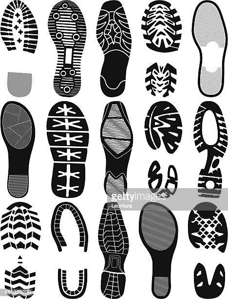 footprints - shoe print stock illustrations