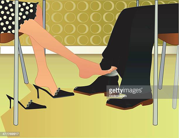 footsie flirt - sex and reproduction stock illustrations, clip art, cartoons, & icons