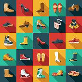 Footwear Flat Design Icon Set